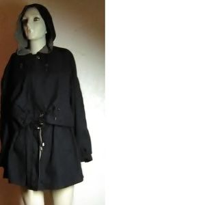 Gallery Black Hooded Coat Size M